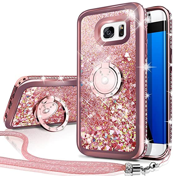 9fda5c60136 Silverback Phone case Compatible with Samsung Galaxy S7 Edge, Girls Women Moving  Liquid Holographic Sparkle