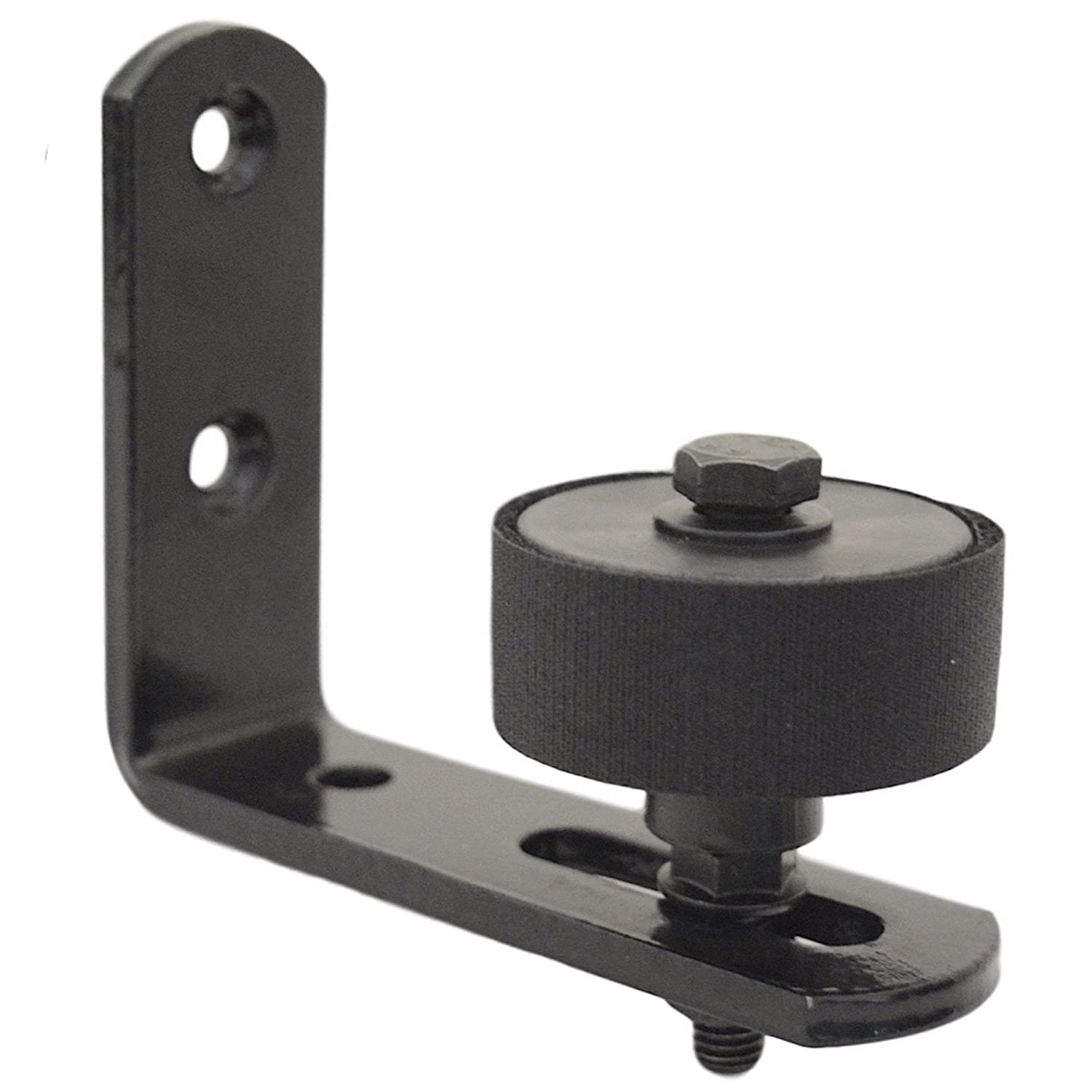 Adjustable Barn Door Stay Roller Floor Guide - Black Powder Coated Steel Bracket Channel Wall Mount - Universal Fit Sliding Barn Door Bottom Guide Quiet Not Abrasive Padded Roller Guide Protection Tinfin Hardware Ltd.