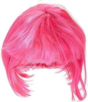 Peluca rosa de Broadway, pelo corto y flequillo en fucsia, más ...