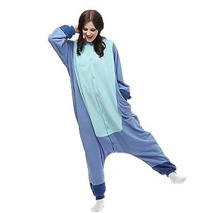 TSMY Halloween Costumes Unisex Adults Kigurumi Lilo & Stitch Onesie The Movie Pajamas Medium Blue (Color: Blue, Tamaño: Medium)