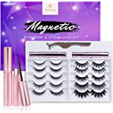 Updated 3D 6D Magnetic Eyelashes with Eyeliner Kit- 2 Tubes of Magnetic Eyeliner & 10 Pairs Magnetic Eyelashes Kit-With Natur