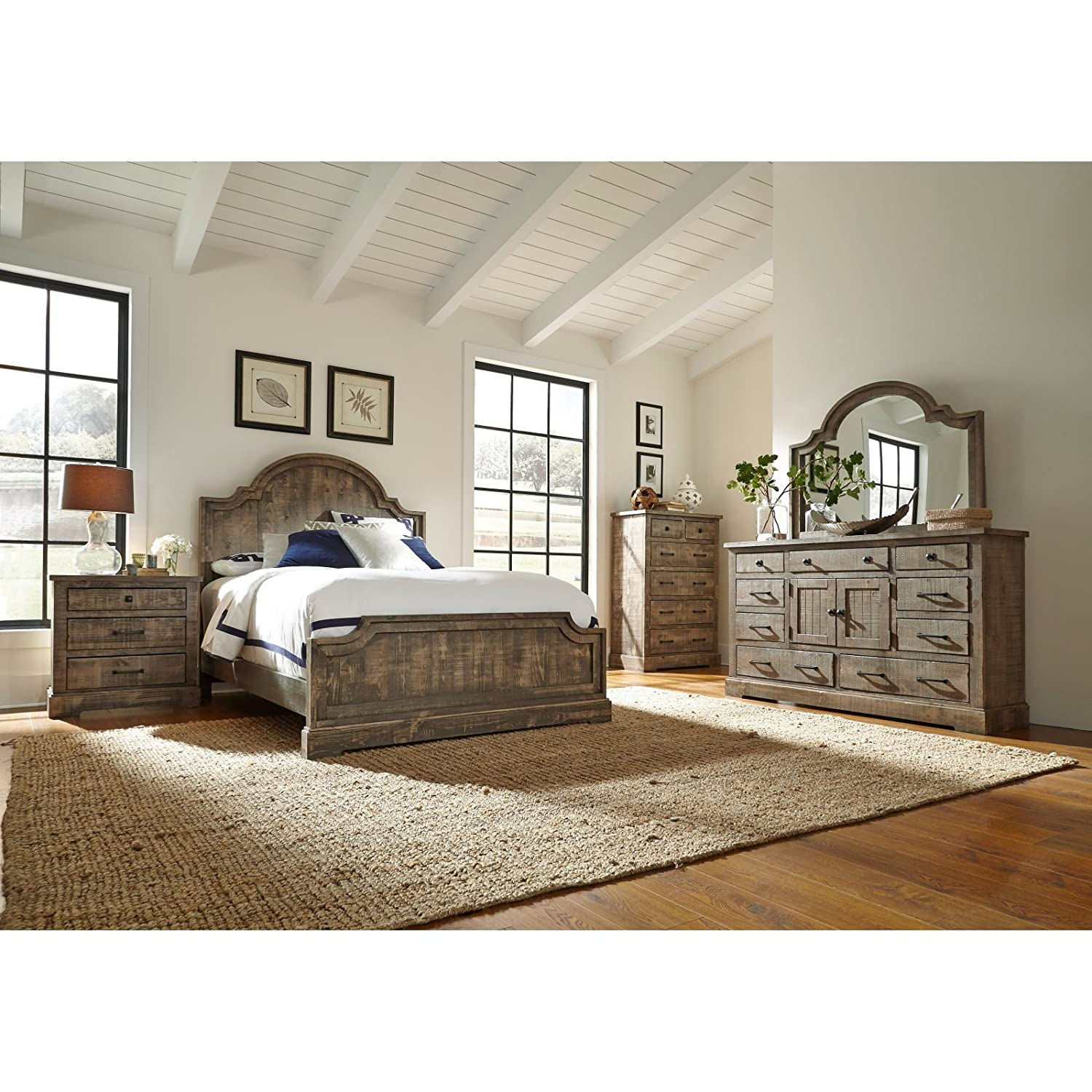 Amazon Panel plete Bed Weathered Gray Queen Kitchen & Dining