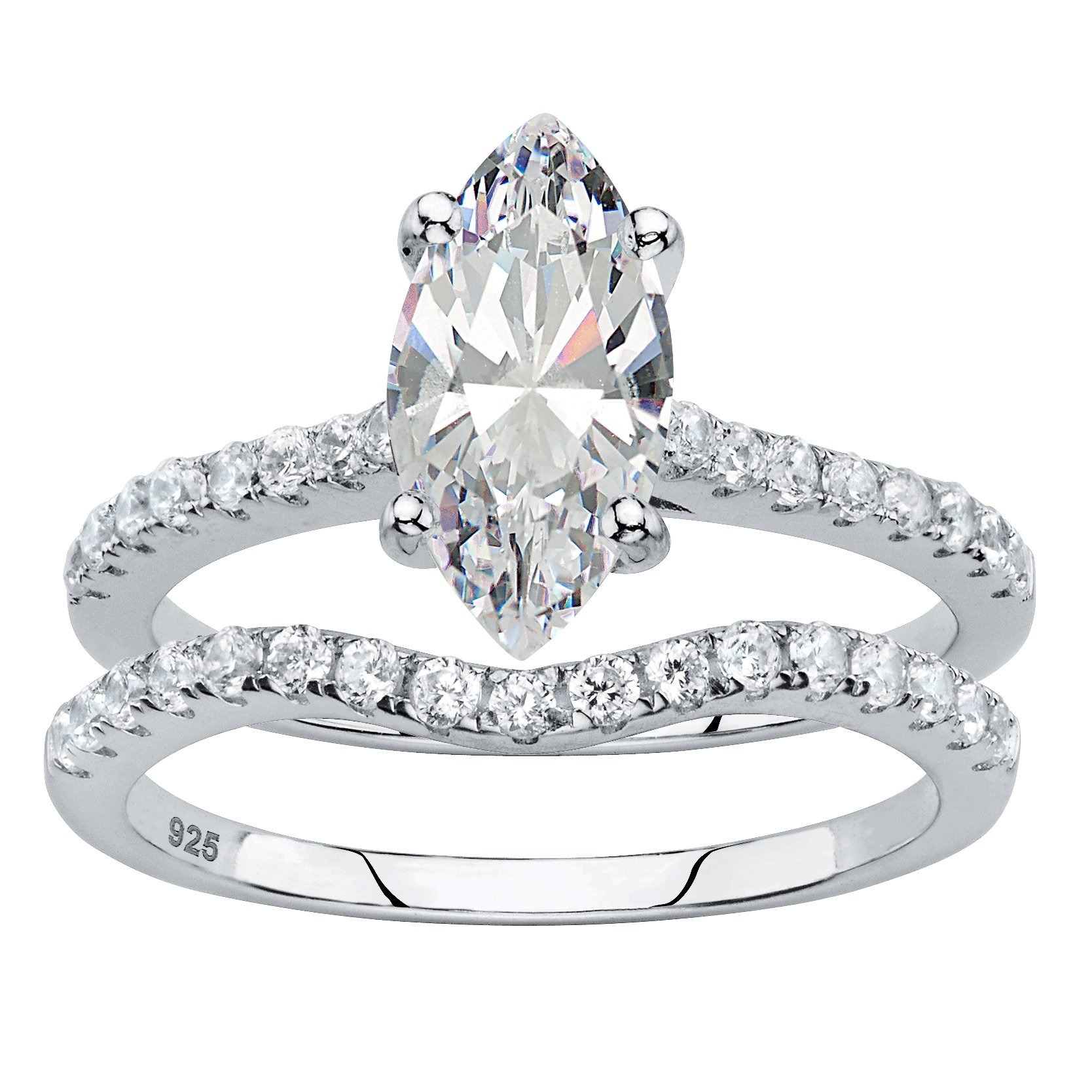Marquise-Cut White Cubic Zirconia Platinum over .925 Silver 2-Piece Bridal Ring Set Size 6