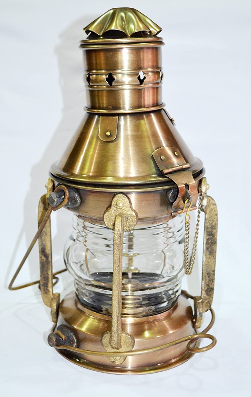 Set of 2 Antique Brass Minor Lamp Nautical Ship Boat Light Lantern Vintage Decor