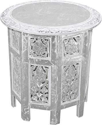Antique Brown Cotton Craft Jaipur Solid Wood Hand Carved Accent Coffee Table 18 Inch Round Top x 18 Inch High