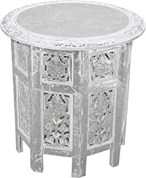 Cotton Craft -Jaipur Solid Wood Handcrafted Carved Folding Accent Coffee Table - Antique Silver and White - 18 Inch Round Top x 18 Inch High -Intricate Detail with Hand Carving