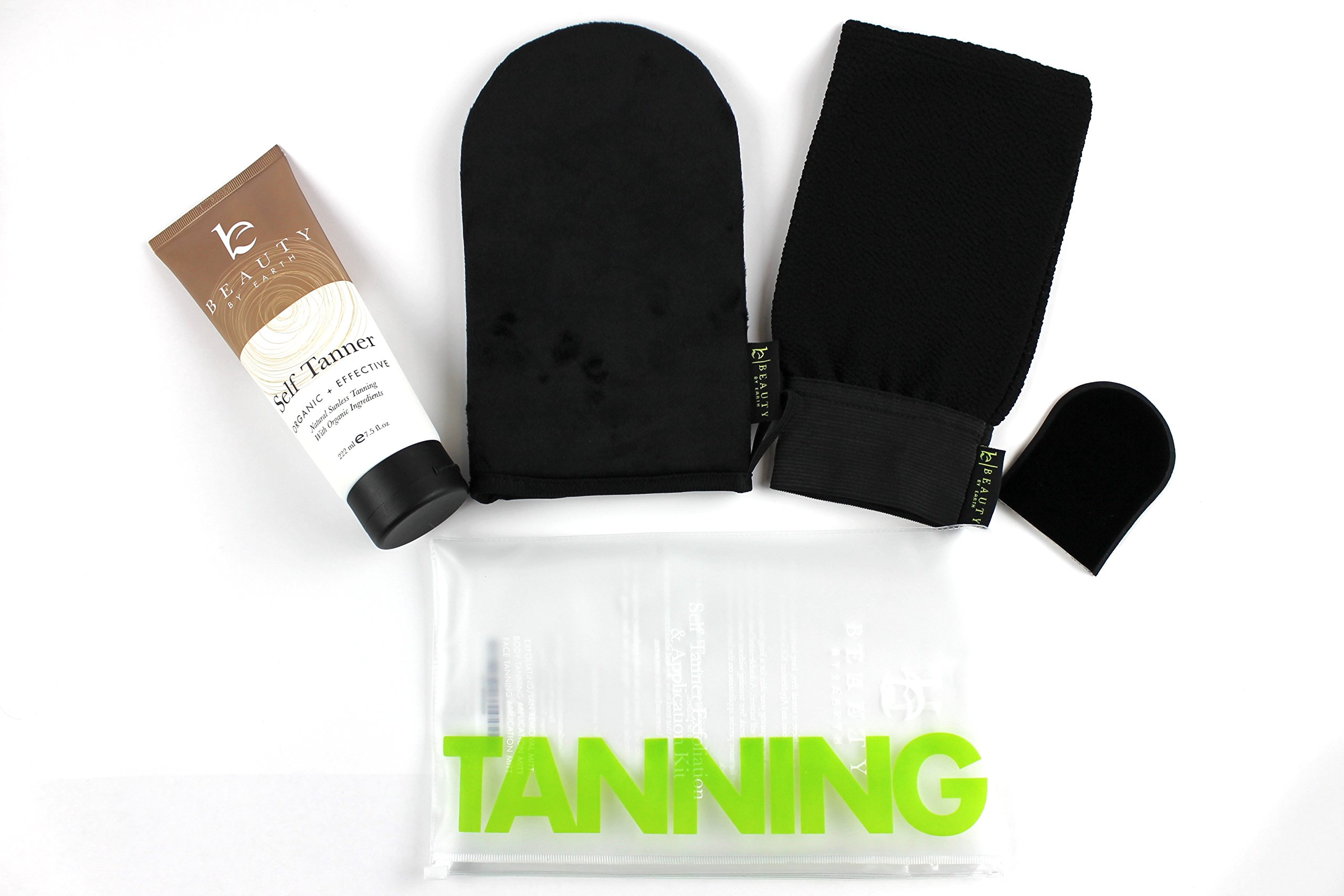Self Tanner & Tanning Application Kit - Bundle of Sunless Tanning Lotion Made With Natural & Organic Ingredients, Exfoliation Mitt, Body and Face Applicator Glove for a Professional Self Tan by Beauty by Earth (Image #2)