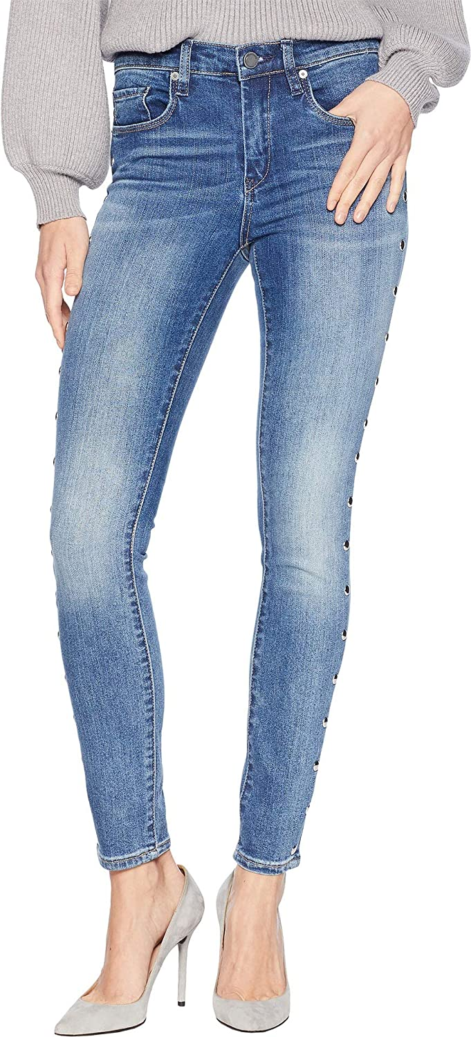 Gnarly [BLANKNYC] Blank NYC Womens Novelty Denim Skinny with Grommet Detail On Side of Leg in Gnarly