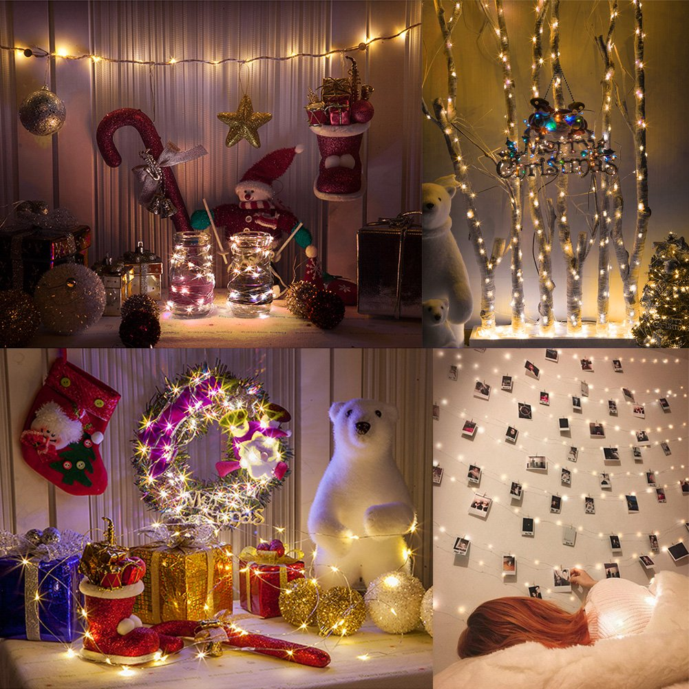 Amteker LED Photo Clip String Lights - 10M 100LED String Lights with 50 Pcs Photo Clips Hanging Photo Frames Light for Home, Wall, Christmas, Party, Bedroom Decorations (with 50 Clip & 20 Nails)