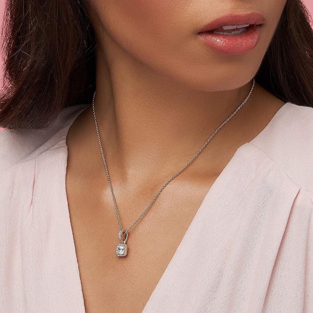 Amazon Com Pandora Jewelry Square Sparkle Halo Cubic Zirconia Necklace In Pandora Rose Jewelry