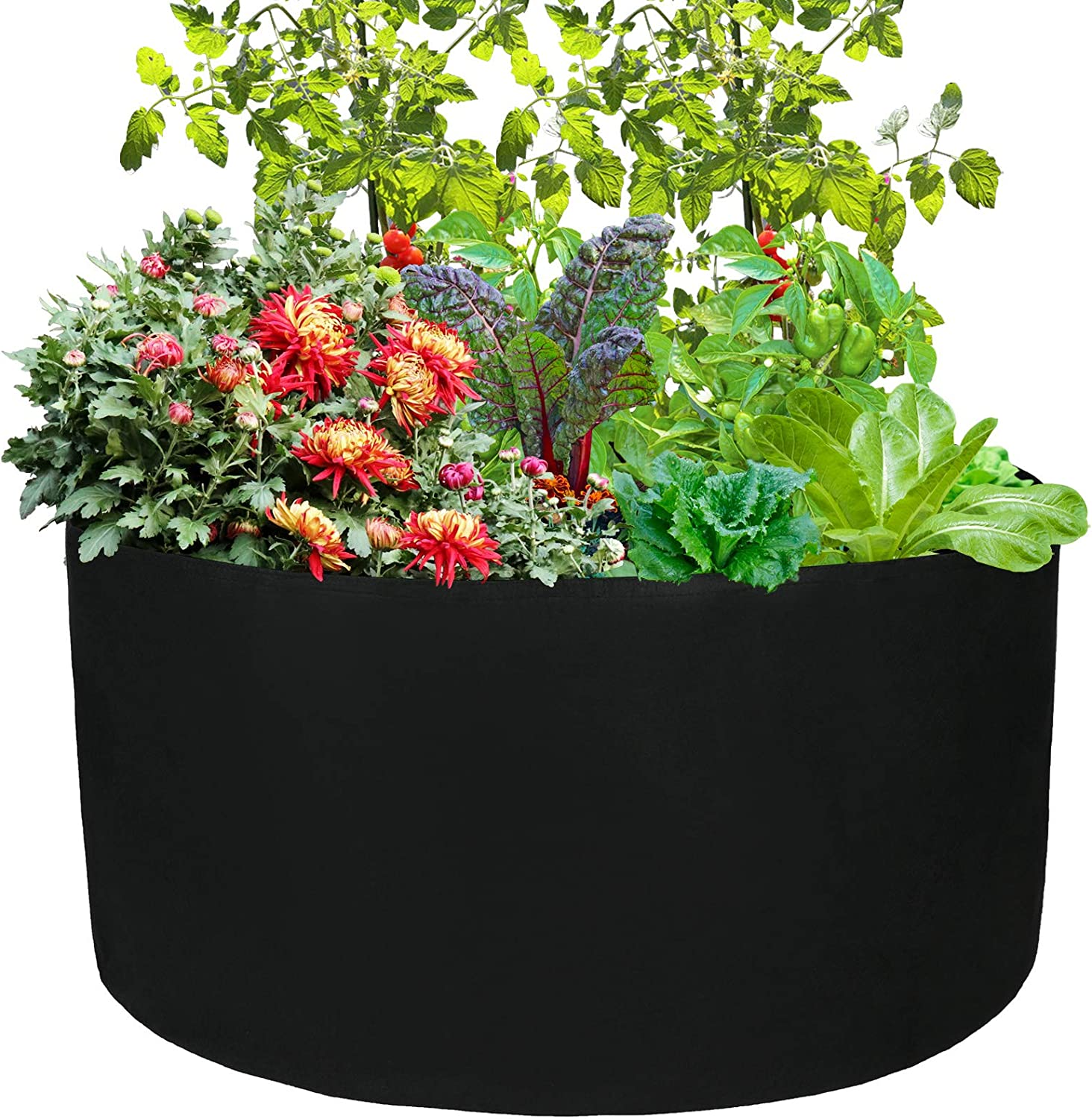 2Krmstr 100 Gallon Round Fabric Plant Grow Bags, Heavy Duty Fabric Aeration Pots Container, Smart Planting Pots for Nursery Garden and Planting Potato, Strawberry, Chili, Peanut and Other Vegetables