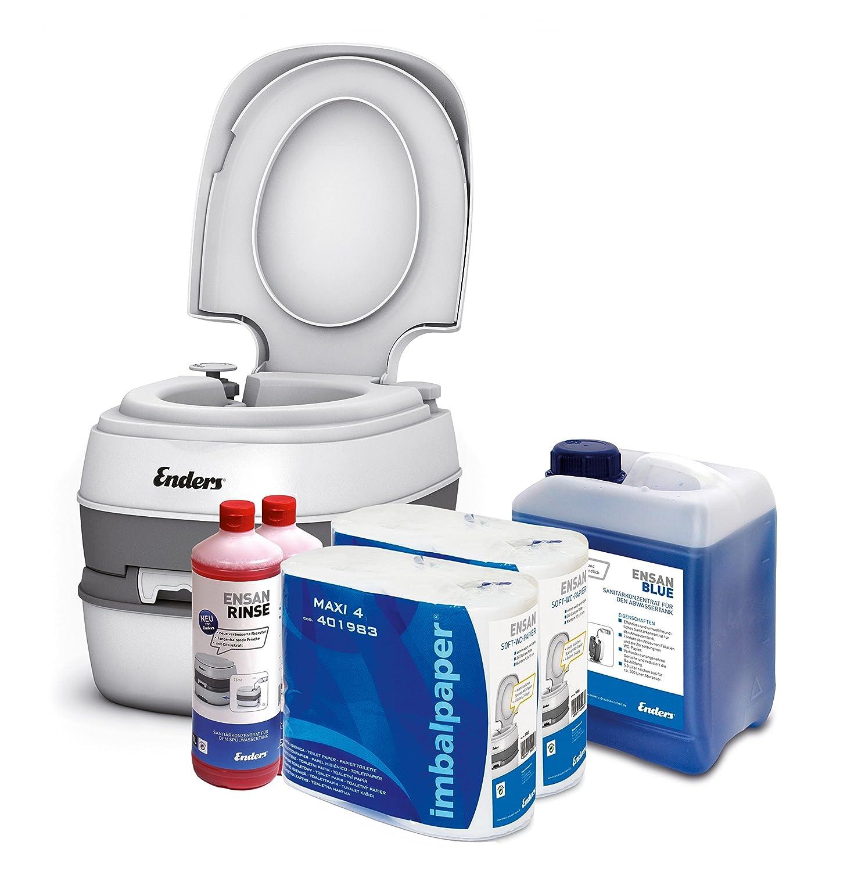 Campingtoilette Starter-Set Blau 5,0 Liter Enders Comfort [ 4946 ]: inkl. Sanitärflüssigkeit und WC Papier - mobile Chemietoilette Campingklo Camping-Toilette