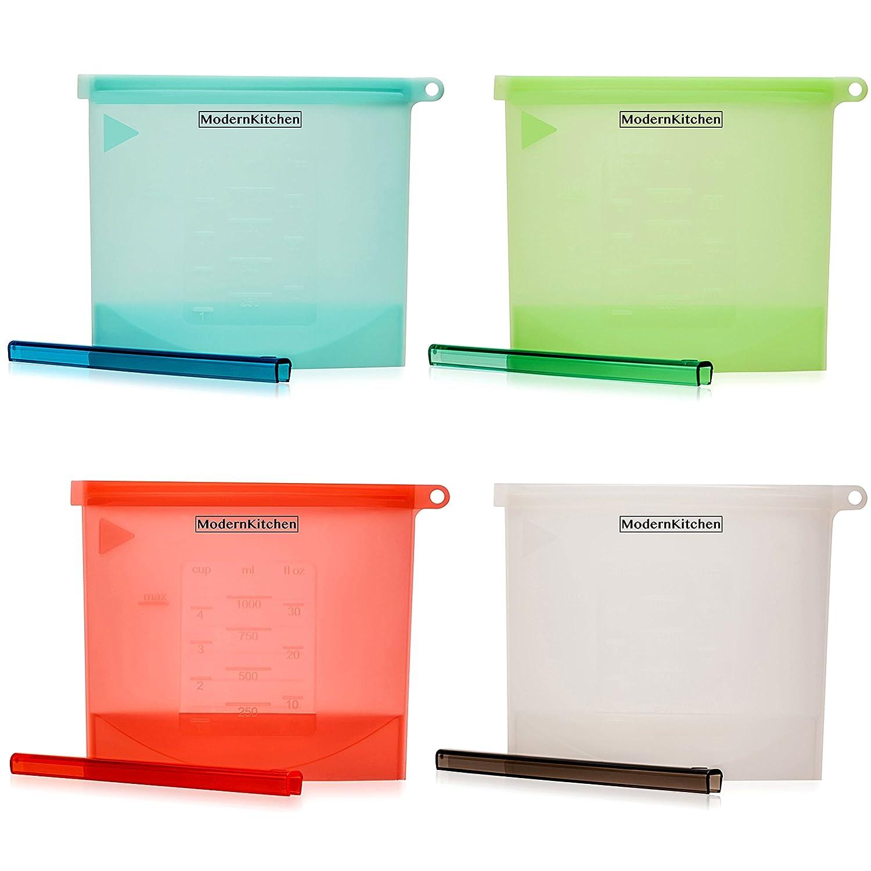 Amazon.com - Reusable Silicone Food Storage Bags - Sandwich Ziplock ...
