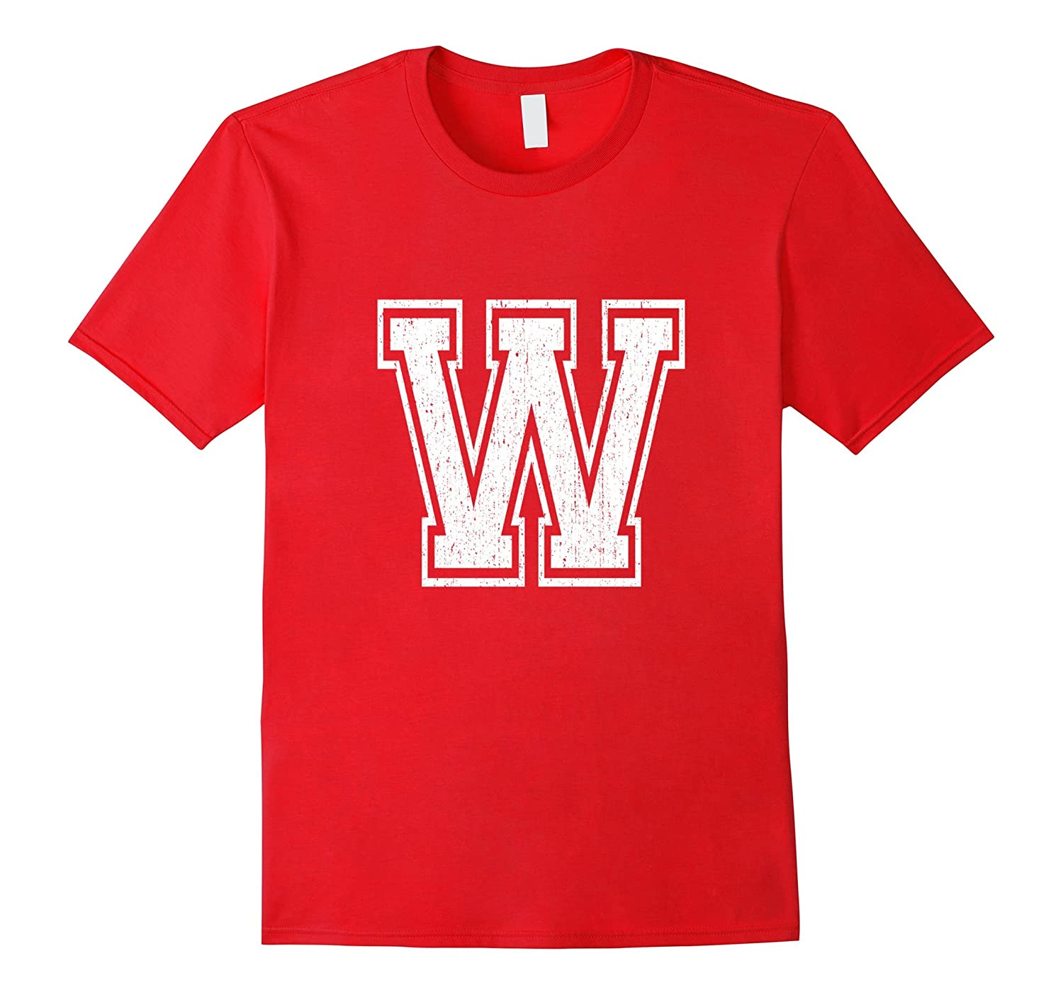 Large Letter W T Shirt Distressed Collegiate Varsity Style-CL