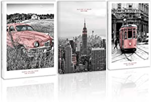 Black and White Pink Car in Wild Country Wall Art Decor New York City Skyline Building Canvas Painting Kitchen Tarm Street in America Cicy Prints Pictures for Home Living Dining Room