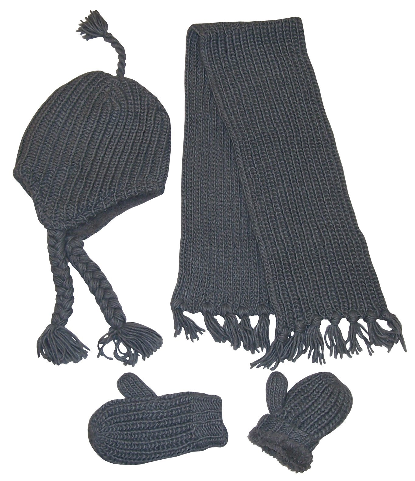 N'Ice Caps Kids Bulky Waffle Stitch 3Pc Set With Sherpa Lining (2-4yrs, Charcoal Grey)