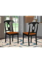 East West Furniture KEC-BLK-W Napoleon-Styled dining chairs - Wooden Seat and Black Solid wood Frame dining chair set of 2