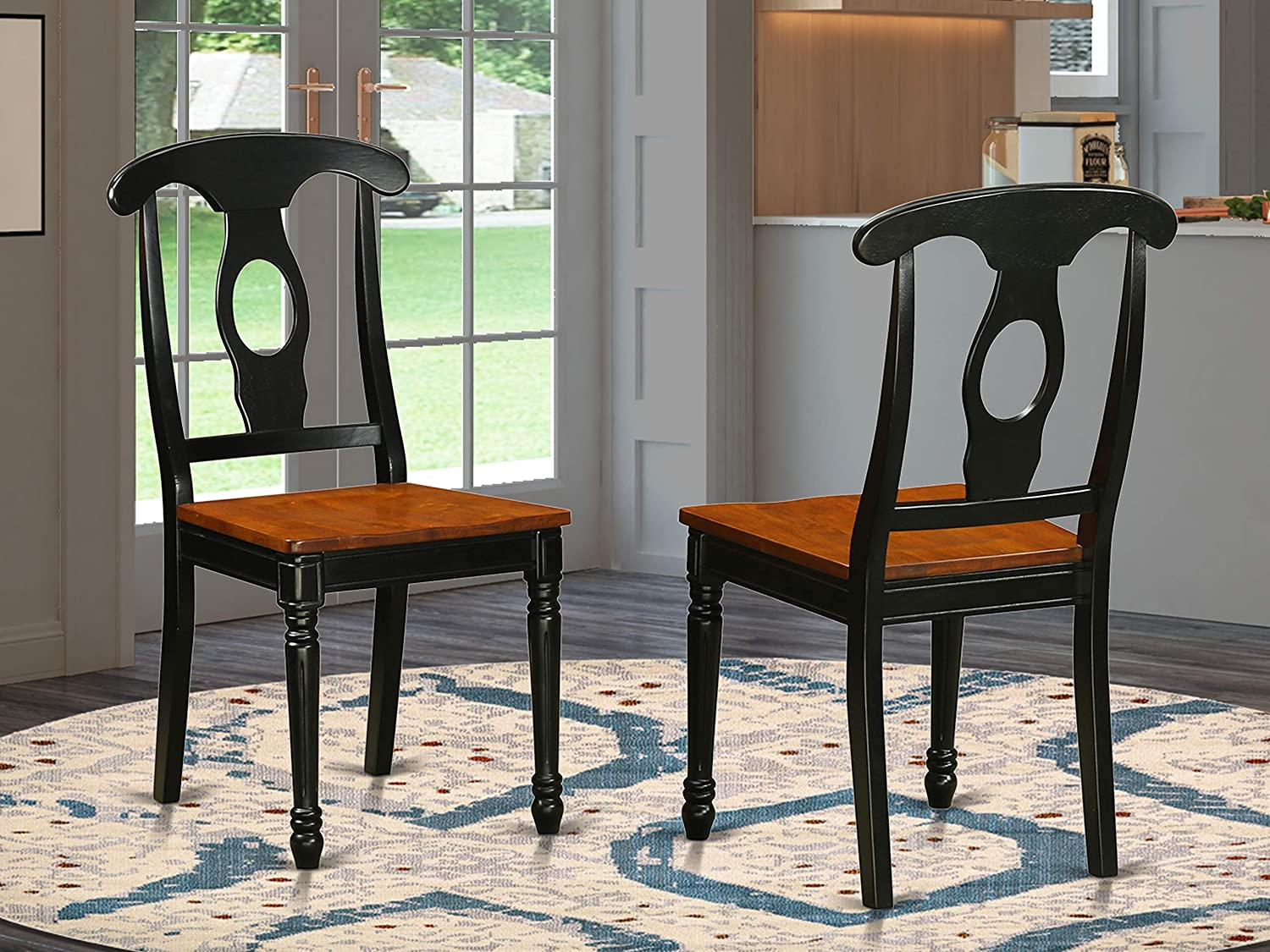 East West Furniture KEC-BLK-W Kitchen/Dining Chair Set with Wood Seat, Set of 2