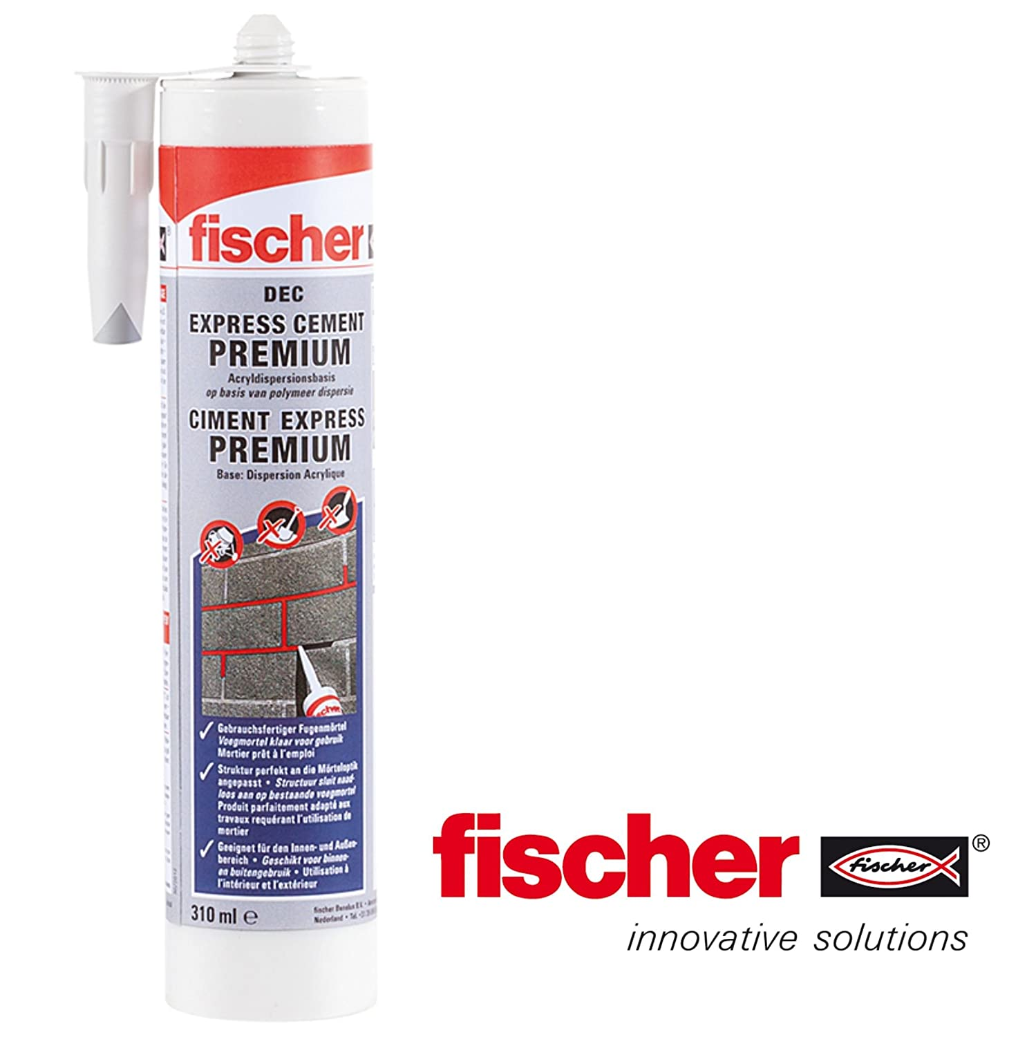 Fischer dé c-Express Premium Ready Mix Cement Repair Mastic de ré paration de ciment Cartouche de 310 ml Gris