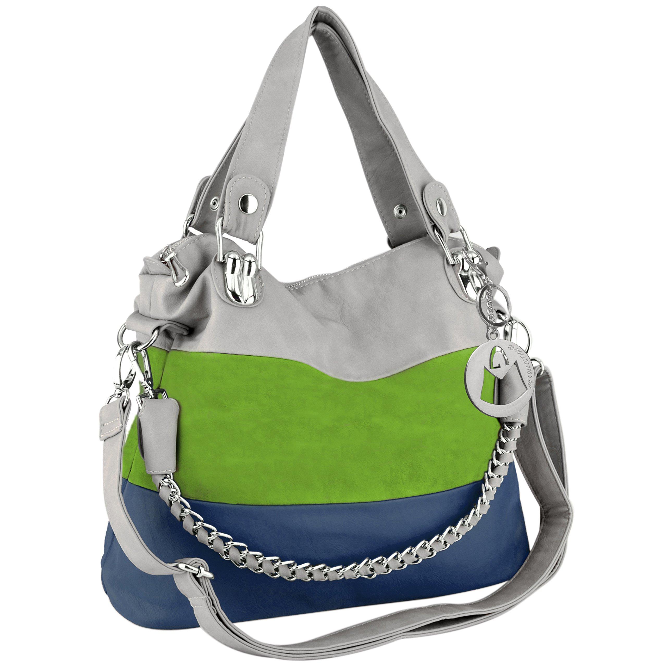 MG Collection MAWAR Green / Blue / Gray Chic Hobo Style Shoulder Handbag / Purse