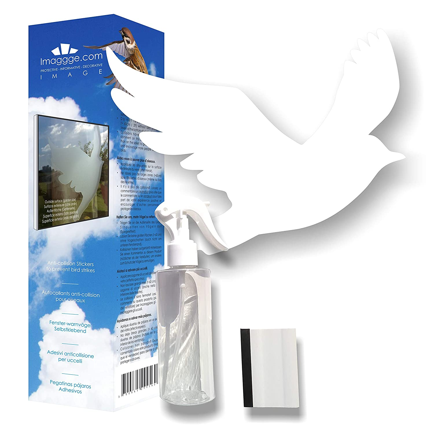 Anti collision stickers to prevent bird strikes on window glass kit of 22 bird silhouettes spray and squeegee colour white amazon co uk kitchen