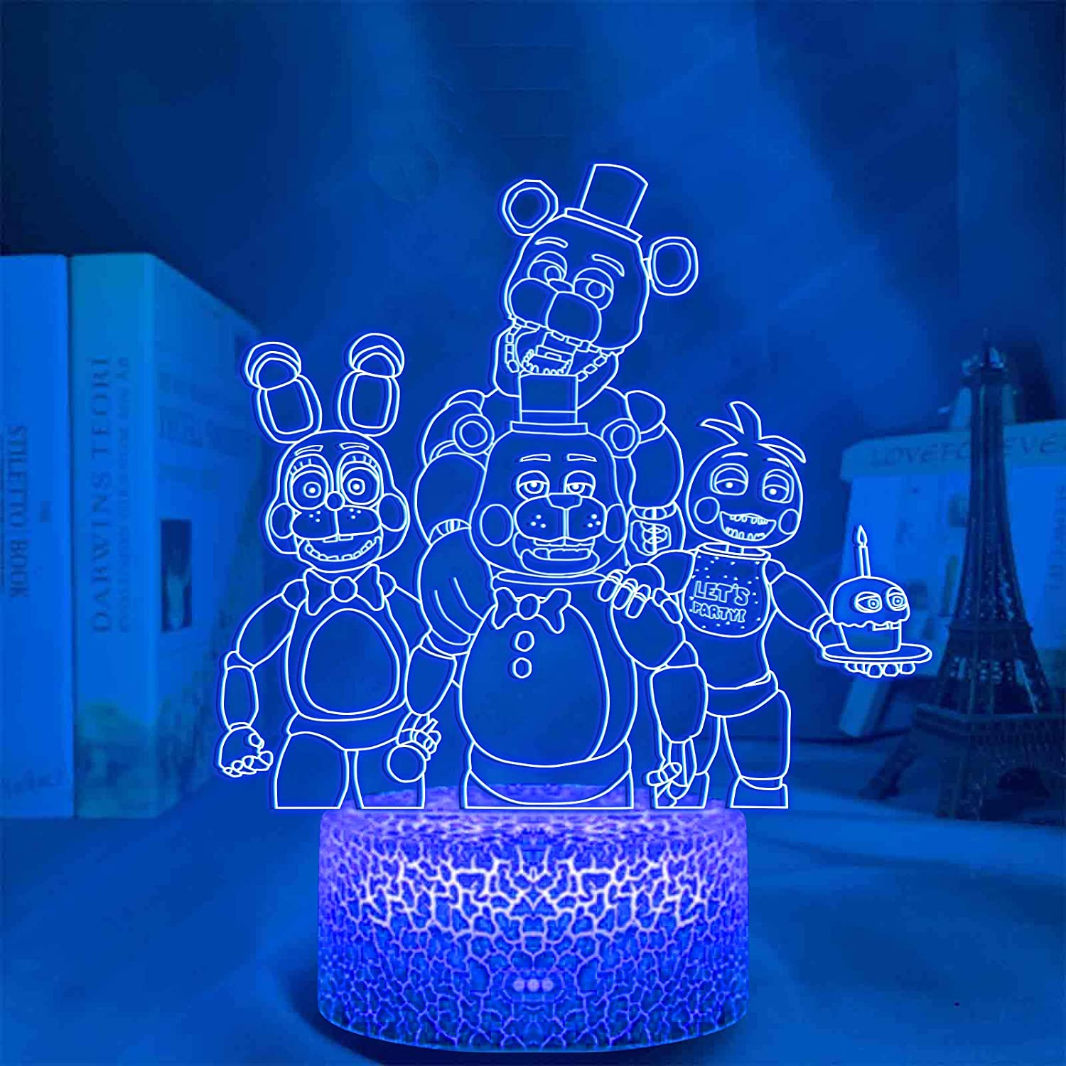 QAHEART FNAF 3D Optical Illusion Lamp, Five Night at Fre-ddy's Lamp Cute Nightlight Remote Control 7 Colors Changing Bedroom Decor for Children Kid Boys Girls Acrylic Table Lamp Gift