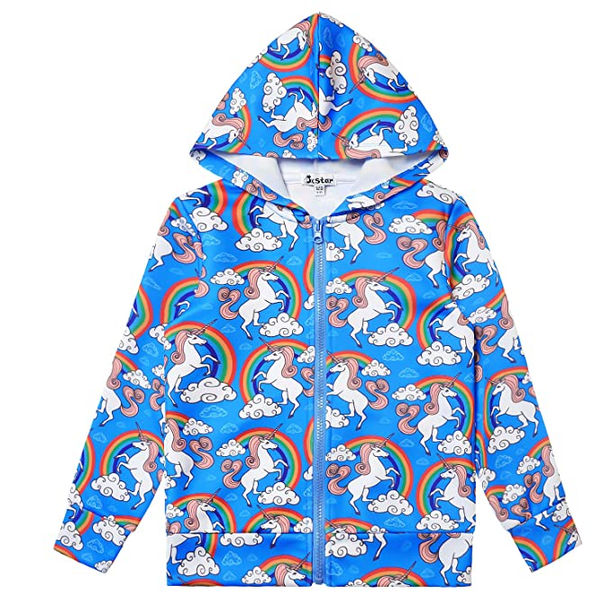 6e8c926fe Amazon.com: Girls Zip Up Hoodie Jacket Unicorn Sweatshirt with ...