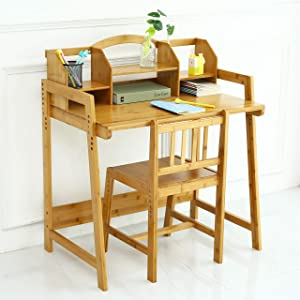 UNICOO - Bamboo Height Adjustable Kids Desk and Chair Set, Children Desk, Kids Study Table and Chair Set (Kids Desk Set - Nature)