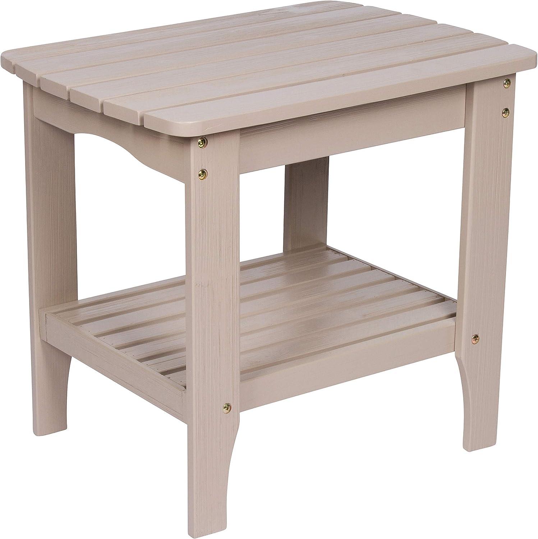 Shine Company Shine Co. Cedar Wood Weather Resistant Hydro-Tex Finish Adirondack Square Corner Grey Stone 4113GS End Table