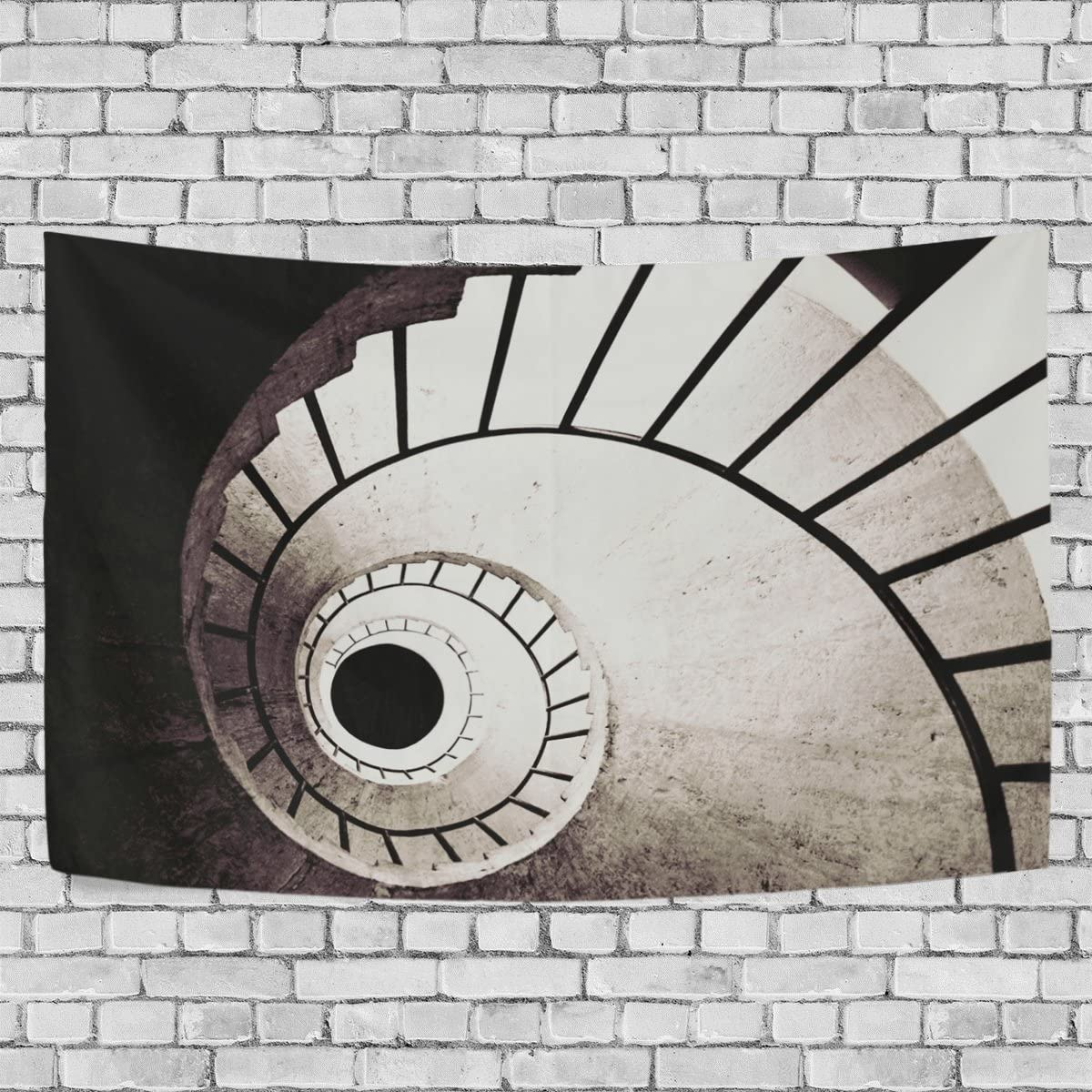 coosun tapete de pared escalera de caracol en blanco y negro decoración tapiz decorativo de pared alfombra, 60