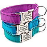 Personalized Dog Collar, Custom Reflective Collar with Name Phone Number Adjustable Size (S M L)