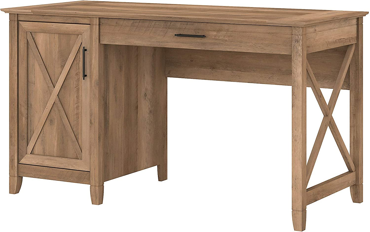 Bush Furniture Key West 54W Computer Desk with Keyboard Tray and Storage, Reclaimed Pine