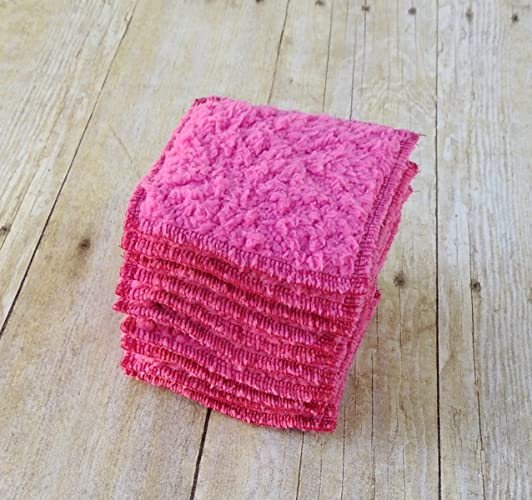 Makeup Remover Pads - Fuchsia Face Scrubbies - Small Washcloth - Set of 10