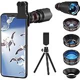 Selvim Phone Camera Lens Phone Lens Kit 4 in 1, 22X Telephoto Lens, 235° Fisheye Lens, 0.62X Wide Angle Lens, 25X Macro Lens,