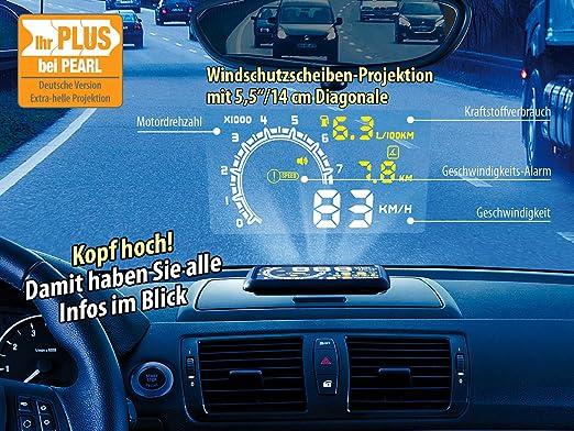 Head Up Displays f/ür Smartphones Head-up-Display HUD-55C f/ür OBD2-Anschluss mit Armaturenbrett-Ablage Lescars Auto HUD