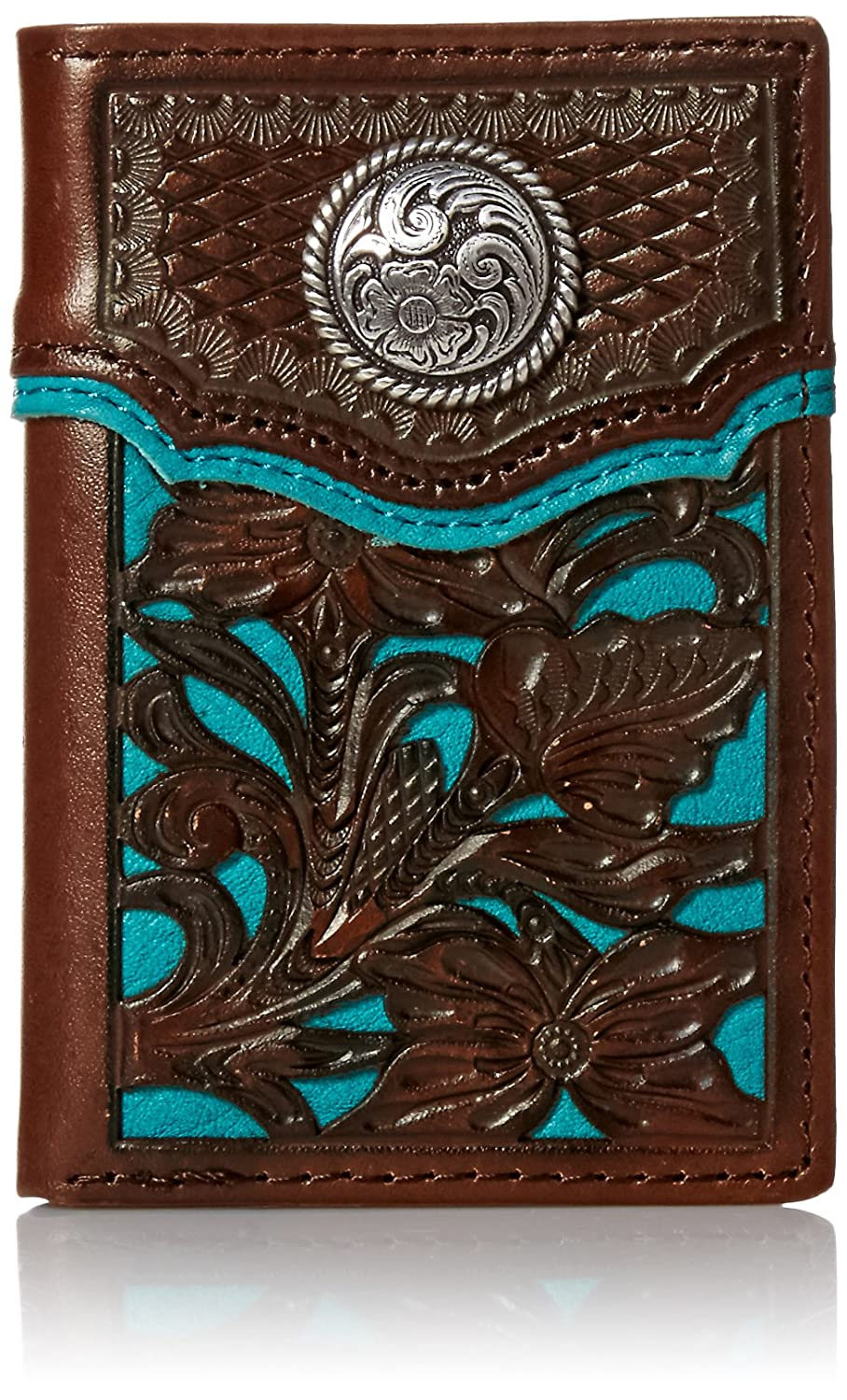Nocona Mens Blue Floral Inlay Trifold