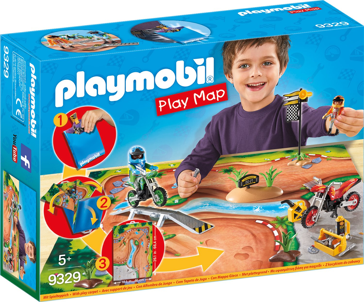 Playmobil 9329 Play Map Motocross Amazoncouk Toys Games