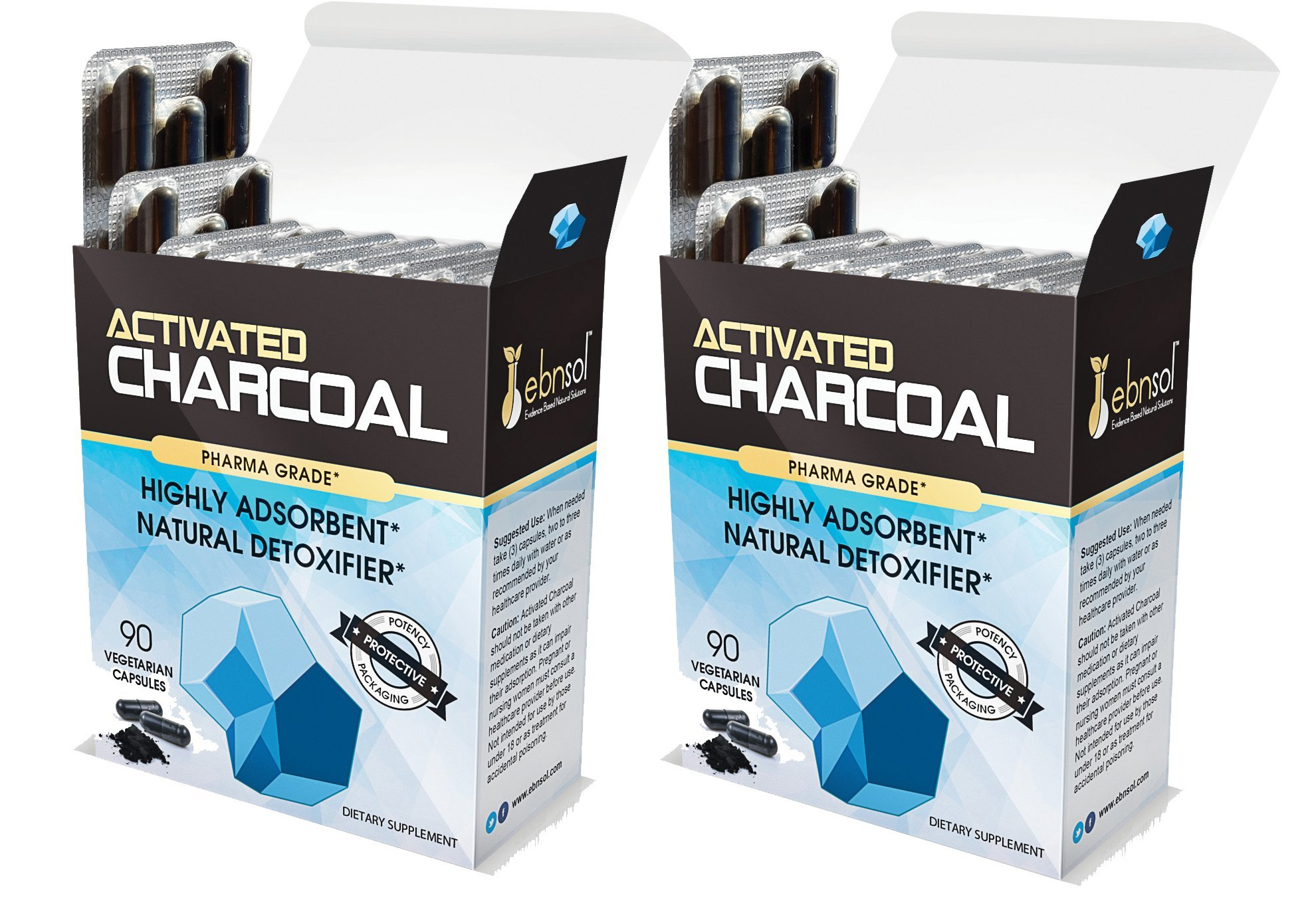 Activated Charcoal Supplement, Vegetarian Capsules by Ebnsol Inc (180caps(2-Pack))