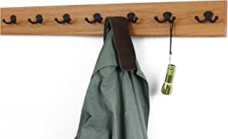 """product image for Solid Cherry Wall Mounted Coat Rack with Oil Rubbed Aged Bronze Coat Hooks - Double Style Wall Hooks - 4.5"""" Utra Wide Rail– Made in The USA - (Cherry Stain - 4.5"""" x 36"""" - 7 Hooks)"""