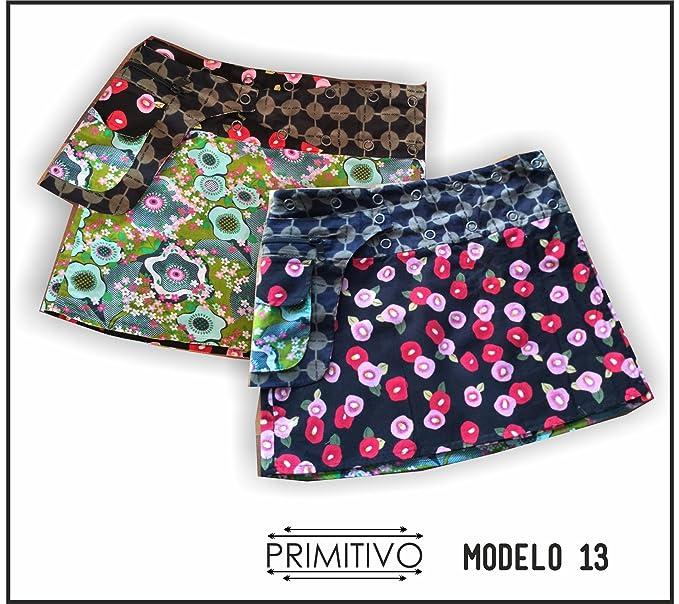 primitivo Mini Falda Reversible de Mujer con riñonera, Estilo ...