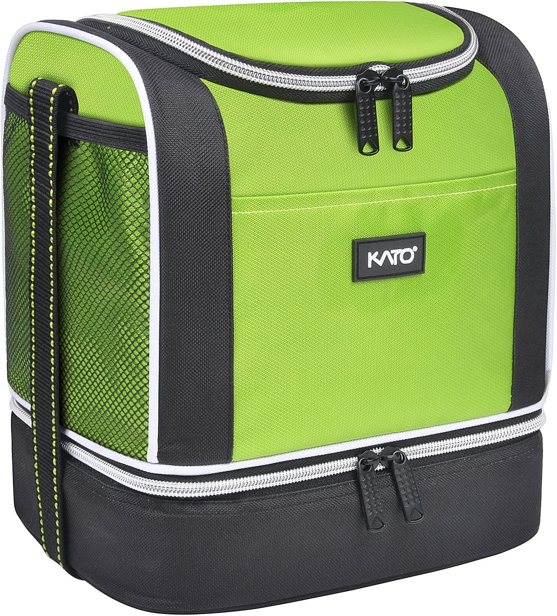 Kato Insulated Lunch Bag, Dual Compartment Portable Bento Cooler Totes for Men and Women, Green