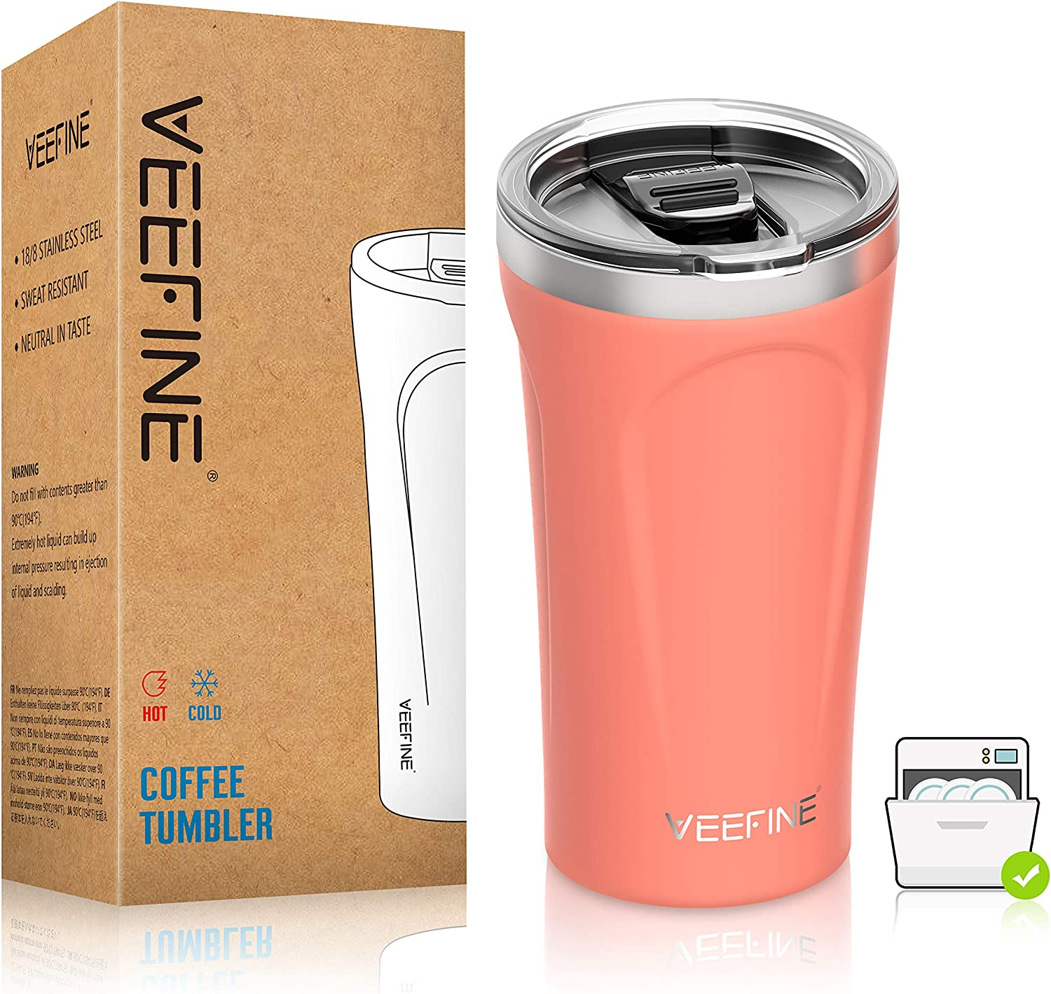 VeeFine Tumbler 16oz 18/8 Stainless Steel Tumbler with Lid Dishwasher Safe Vacuum Insulated Tumblers BPA Free Keep Hot Cold Sweat Free Double Wall Travel Tumbler Cups for Coffee Tea and Hot Beverage