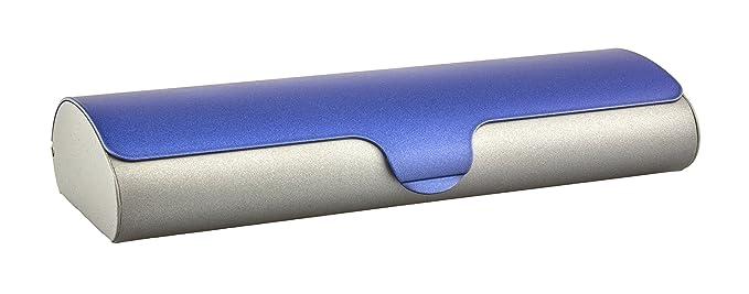 3d5defa6351dfe Étui plat à lunettes avec coque extérieure en aluminium et fermeture à  clips dans différentes couleurs et tailles (bicolor bleu-gris)  Amazon.fr   High-tech