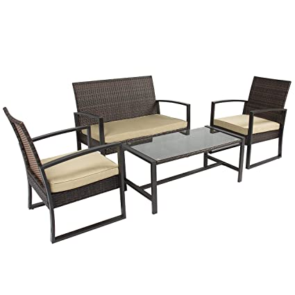 08e68599cc8 Amazon.com   Best Choice Products 4pc Patio Furniture Set Cushioned Outdoor  Wicker Rattan Garden Lawn Sofa Seat   Garden   Outdoor