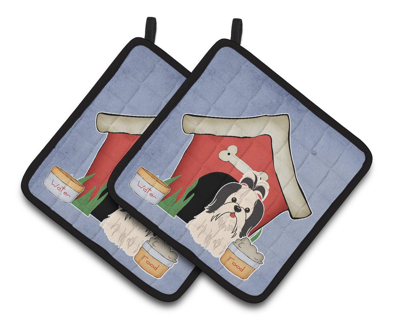 Carolines Treasures Dog House Collection Shih Tzu black White Pair of Pot Holders BB2842PTHD 7.5HX7.5W Multicolor
