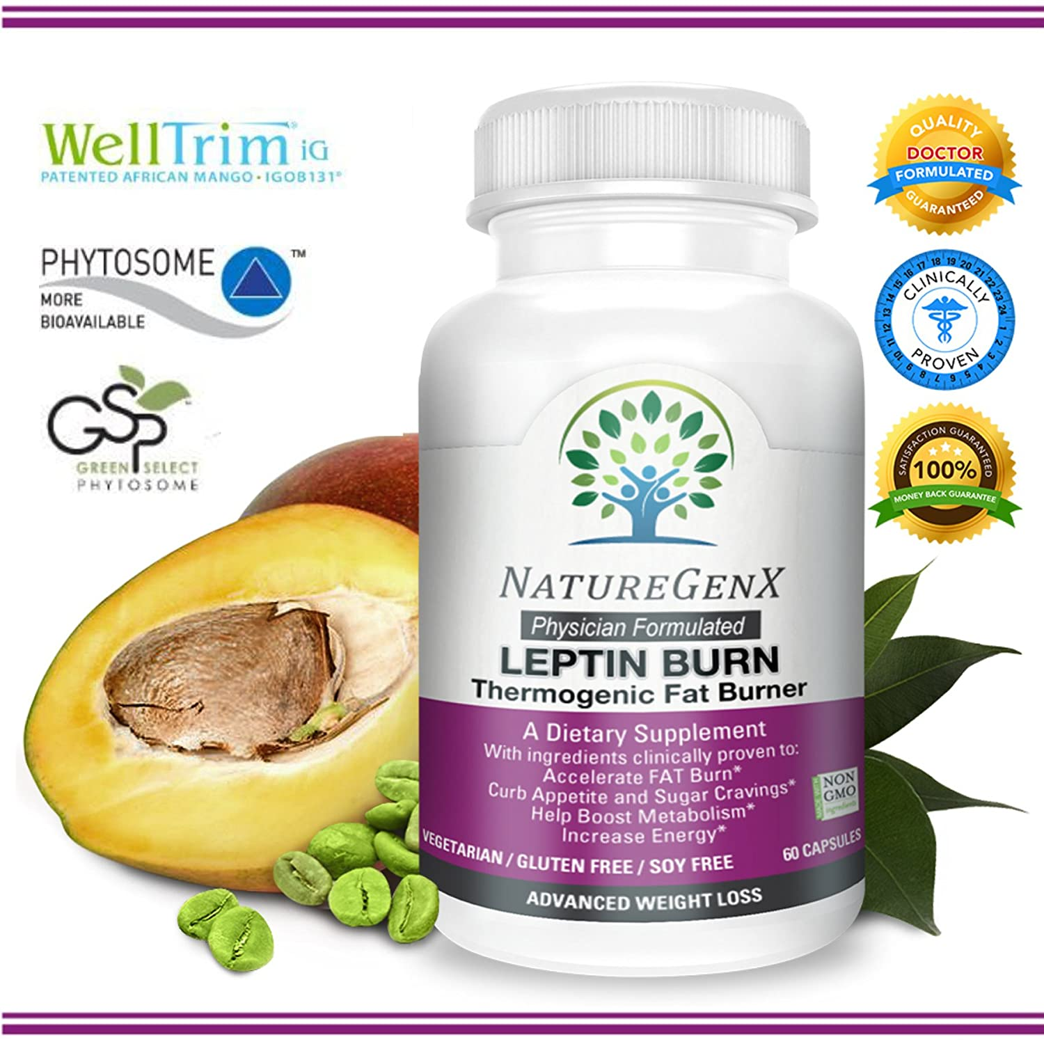 NatureGenX – Leptin Burn Thermogenic Fat Burner Clinically Proven – Appetite Control and Boost Metabolism Leptin Supplements for Weight Loss Woman Men Doctor Formulated Non-GMO 60 V-Caps
