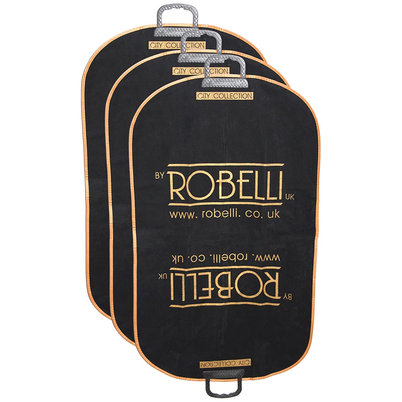 3 x Robelli Velvet Touch Soft Lightweight Suit Carrier Bag - Black