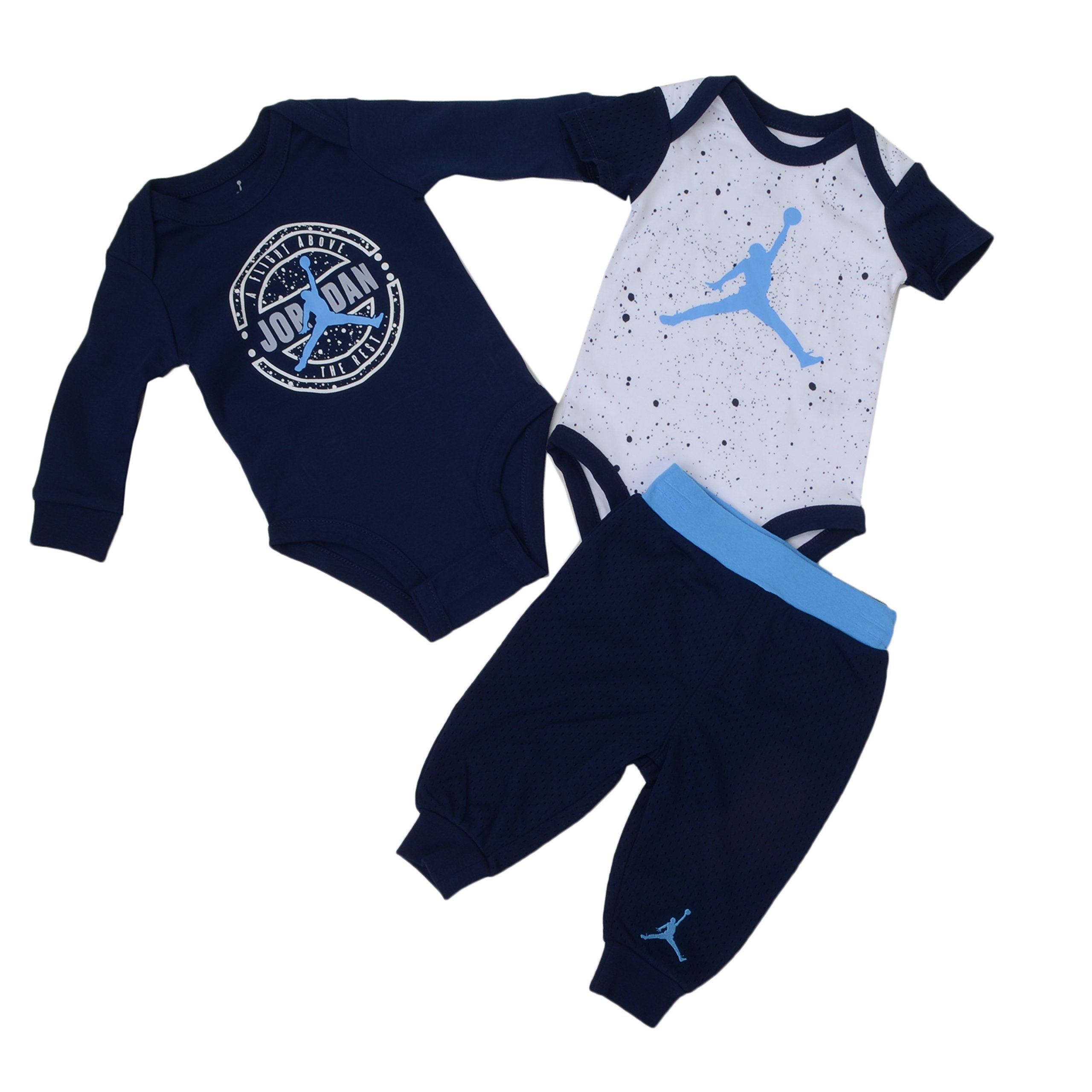 Jordan Nothin' But Net Three-Piece Infant Bodysuit and Pants Set (3/6 Month, Midnight Navy) by NIKE