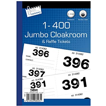 Just Stationery  Jumbo Cloakroom Raffle Ticket AmazonCoUk