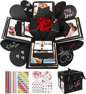 Emooqi DIY Explosion Box, Creative DIY Handmade Surprise Explosion Gift Box Love Memory, Scrapbooking Photo Album Gift Box for Birthday Valentine's Day Anniversary Wedding Christmas Festival